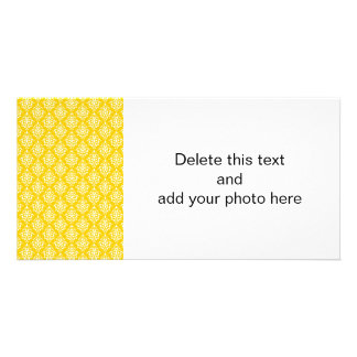 BOLD BRIGHT YELLOW VINTAGE DAMASK PATTERN 1 PICTURE CARD