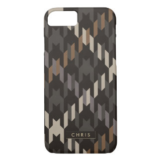 Bold brown houndstooth plaid pattern monogram iPhone 7 case