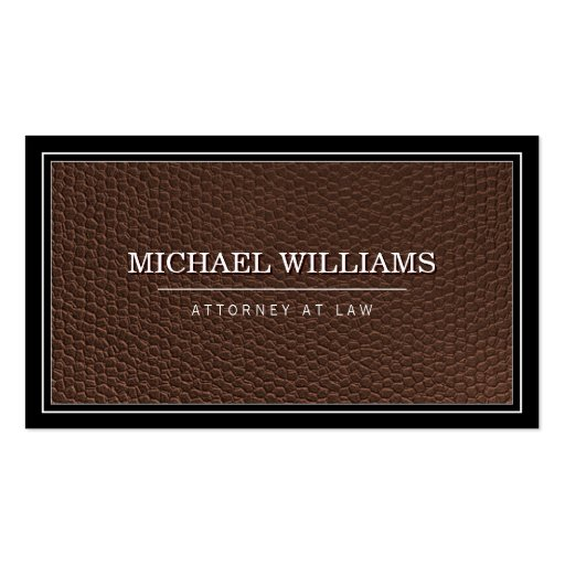 Bold Brown Leather Professional Attorney Law Firm Business Card Template