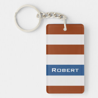 Bold Brown Stripes with Custom Name Single-Sided Rectangular Acrylic Keychain