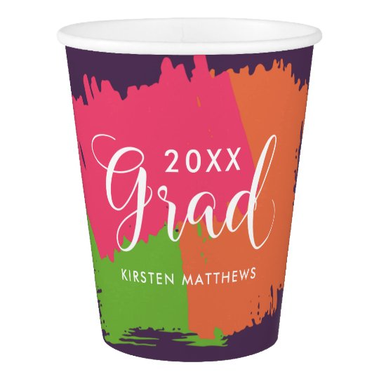 Bold Brush Strokes Graduation Party Cups Paper Cup
