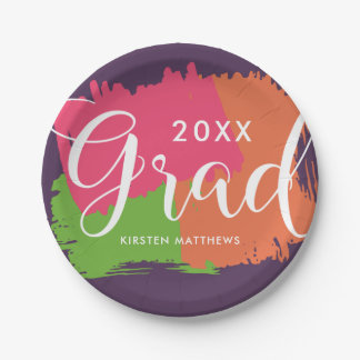 Bold Brush Strokes Graduation Party Plates 7 Inch Paper Plate