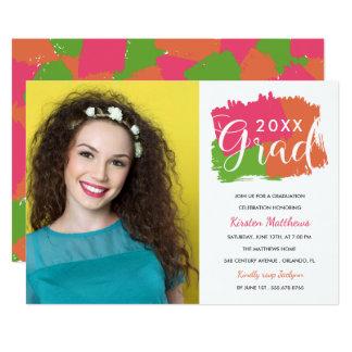 Bold Brush Strokes Photo Graduation Party Invite