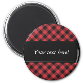 Bold Buffalo Check Plaid Red & Black Magnet