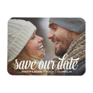 Bold Calligraphy   Photo Save the Date Magnet