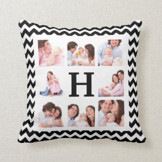 Bold Chevron Custom 8 Family Photos and Monogram Throw Pillow