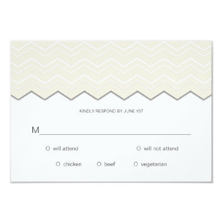 Bold Chevron Ivory on White RSVP Personalized Announcements
