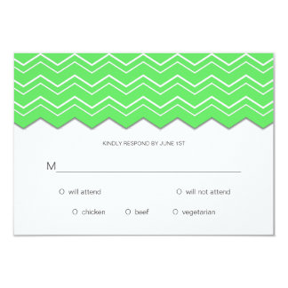 Bold Chevron Lime Green RSVP 3.5x5 Paper Invitation Card