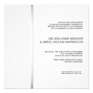 Bold Chevron Silver on White Modern Affordable Custom Invitation
