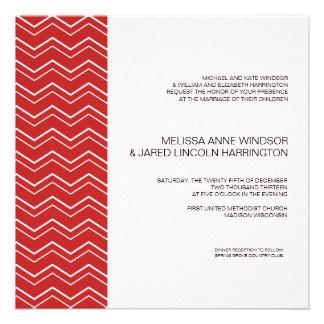 Bold Chevron Stripe Red Modern Affordable Invitations
