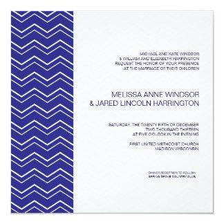 Bold Chevron Stripe Royal Blue Modern Affordable Custom Announcements