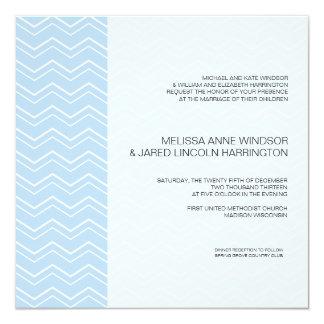 Bold Chevron Stripe Sky Blue Modern Affordable Personalized Invitation