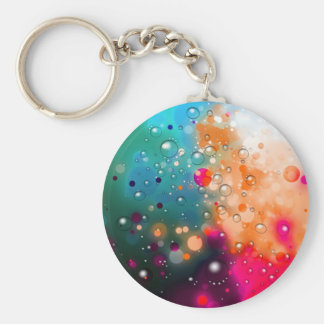 Bold & Chic Blue Red Orange Watercolor Abstract Basic Round Button Keychain
