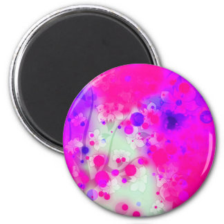 Bold & Chic Floral Pink Watercolor Abstract 2 Inch Round Magnet