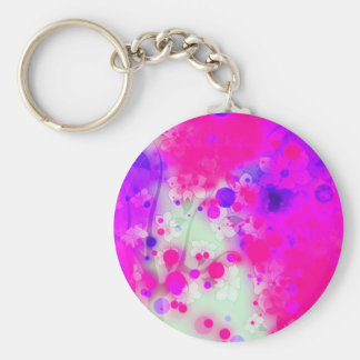 Bold & Chic Floral Pink Watercolor Abstract Basic Round Button Keychain