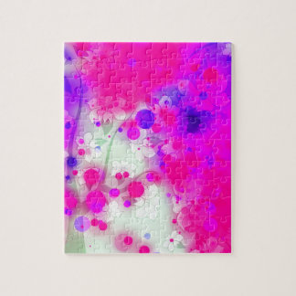 Bold & Chic Floral Pink Watercolor Abstract Puzzle
