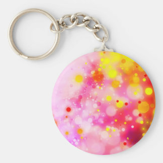 Bold & Chic Fuchsia Pink Watercolor Abstract Basic Round Button Keychain