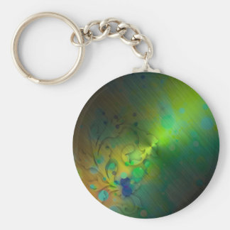 Bold & Chic GREEN TEAL Watercolor Abstract Basic Round Button Keychain