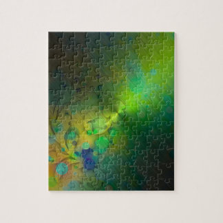 Bold & Chic GREEN TEAL Watercolor Abstract Puzzles