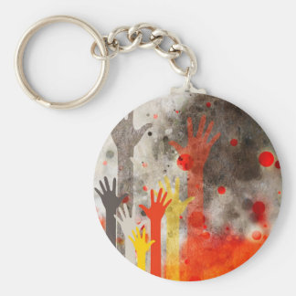 Bold & Chic Hands Red Watercolor Abstract Basic Round Button Keychain