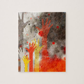 Bold & Chic Hands Red Watercolor Abstract Puzzle