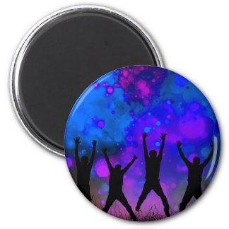 Bold & Chic Jumping for Joy Watercolor Abstract 2 Inch Round Magnet