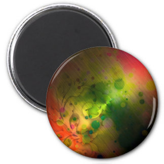 Bold & Chic Red and Green Watercolor Abstract 2 Inch Round Magnet