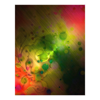 Bold & Chic Red and Green Watercolor Abstract Custom Letterhead