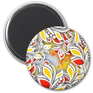 Bold & Chic Red and Yellow Floral Watercolor Abstr 2 Inch Round Magnet