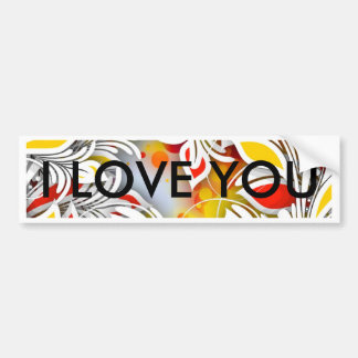 Bold & Chic Red and Yellow Floral Watercolor Abstr Bumper Sticker