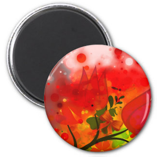 Bold & Chic Red Tulip Watercolor Abstract 2 Inch Round Magnet
