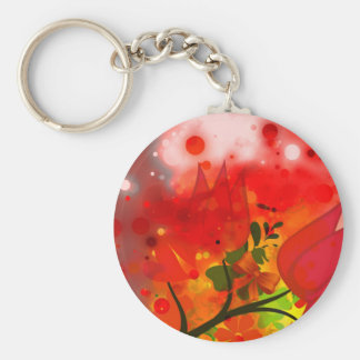 Bold & Chic Red Tulip Watercolor Abstract Basic Round Button Keychain