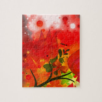 Bold & Chic Red Tulip Watercolor Abstract Jigsaw Puzzle
