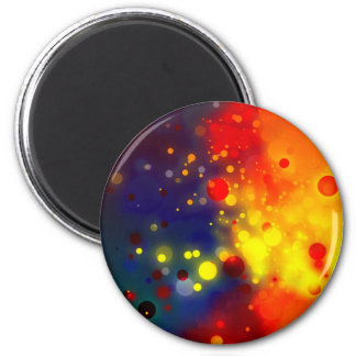 Bold & Chic Red Yellow Blue Watercolor Abstract 2 Inch Round Magnet
