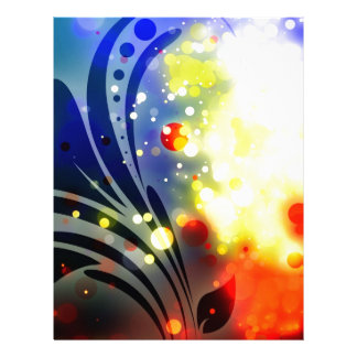 Bold & Chic Red Yellow Blue Watercolor Abstract Letterhead Template