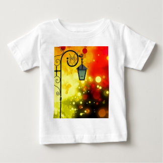 Bold & Chic Red Yellow Lamp post Watercolor Baby T-Shirt