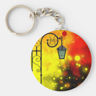 Bold & Chic Red Yellow Lamp post Watercolor Basic Round Button Keychain