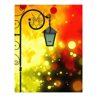 Bold & Chic Red Yellow Lamp post Watercolor Letterhead Template