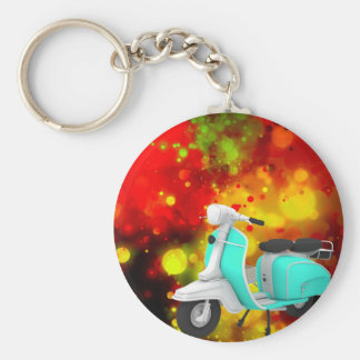 Bold & Chic Scooter Watercolor Abstract Basic Round Button Keychain