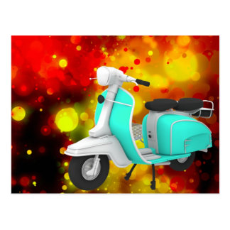 Bold & Chic Scooter Watercolor Abstract Postcard