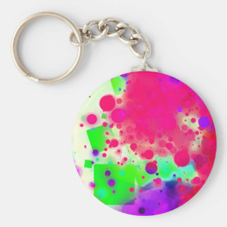Bold & Chic SQUARE & CIRCLES Watercolor Abstract Basic Round Button Keychain