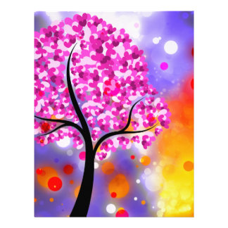 Bold & Chic Tree of Hearts Watercolor Abstract Letterhead