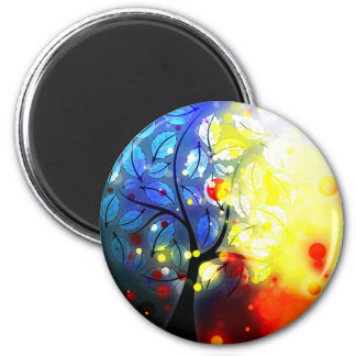 Bold & Chic Tree Red Yellow Watercolor Abstract 2 Inch Round Magnet