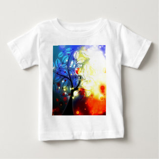 Bold & Chic Tree Red Yellow Watercolor Abstract Baby T-Shirt
