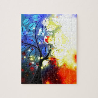 Bold & Chic Tree Red Yellow Watercolor Abstract Puzzles