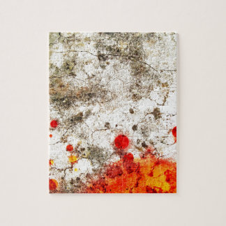 Bold & Chic Wood Red Yellow Watercolor Abstract Jigsaw Puzzle