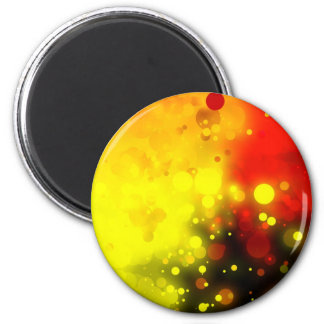 Bold & Chic Yellow and Red Watercolor Abstract 2 Inch Round Magnet