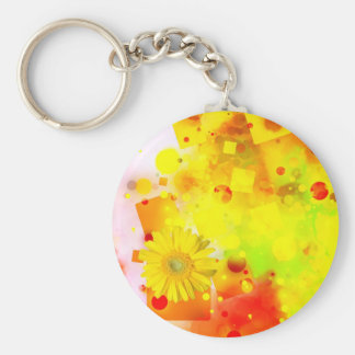 Bold & Chic Yellow Flower Watercolor Abstract Basic Round Button Keychain