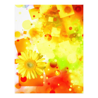 Bold & Chic Yellow Flower Watercolor Abstract Letterhead Template