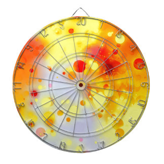 Bold & Chic Yellow Red Orange Watercolor Abstract Dartboards